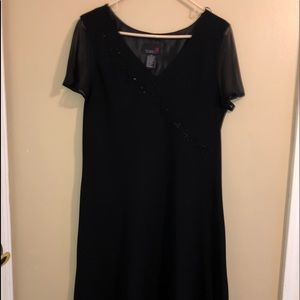 Scarlett Size 18 Black Faux Wrap Beaded Dress